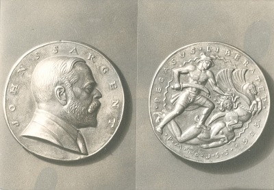 Medal for John Singer Sargent (obverse and reverse) [sculpture] / (photographed by De Witt Ward)