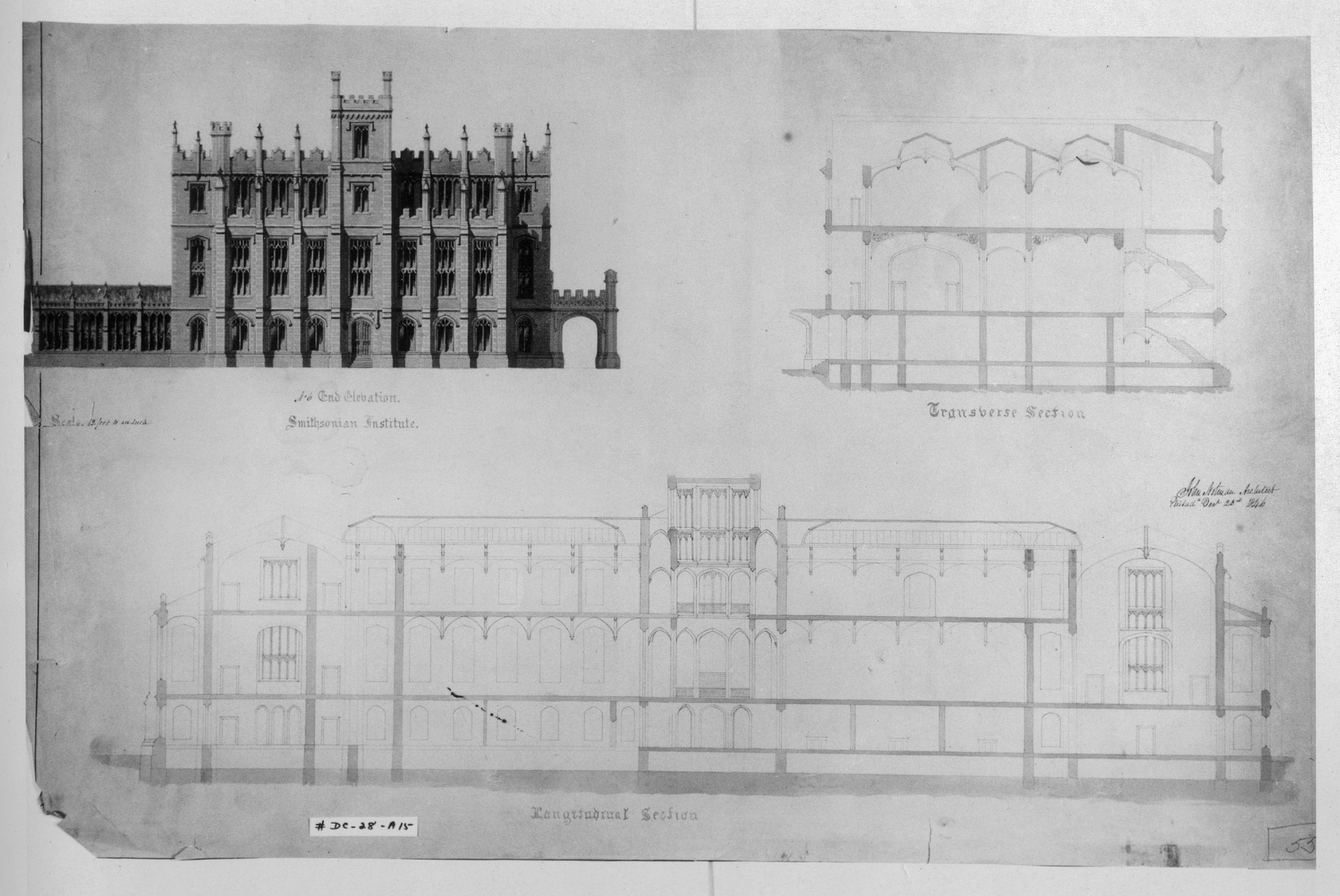 Architectural Drawings by Architect John Notman for Competition of 1846