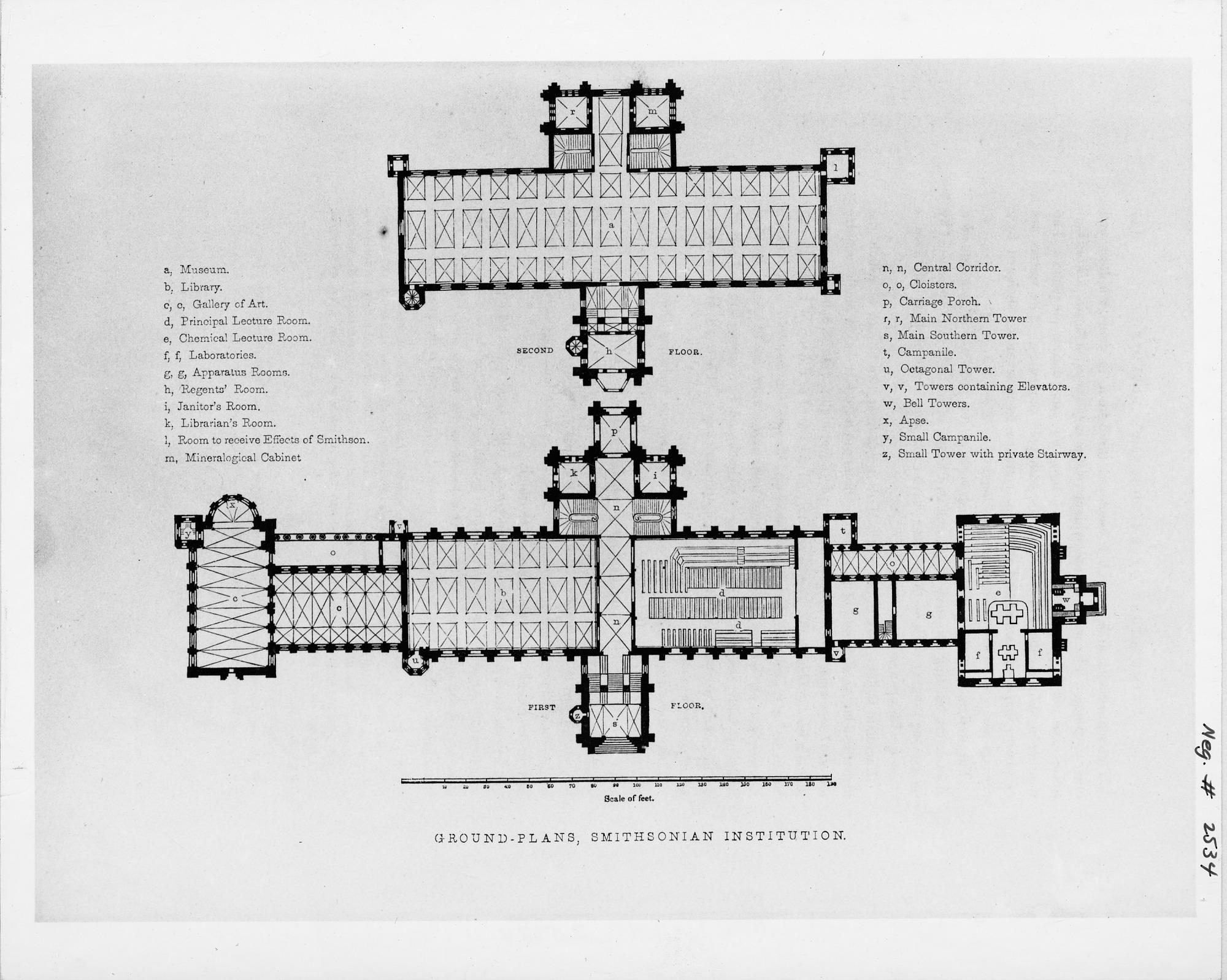 Floor Plan of Smithsonian Institution Building (1849)