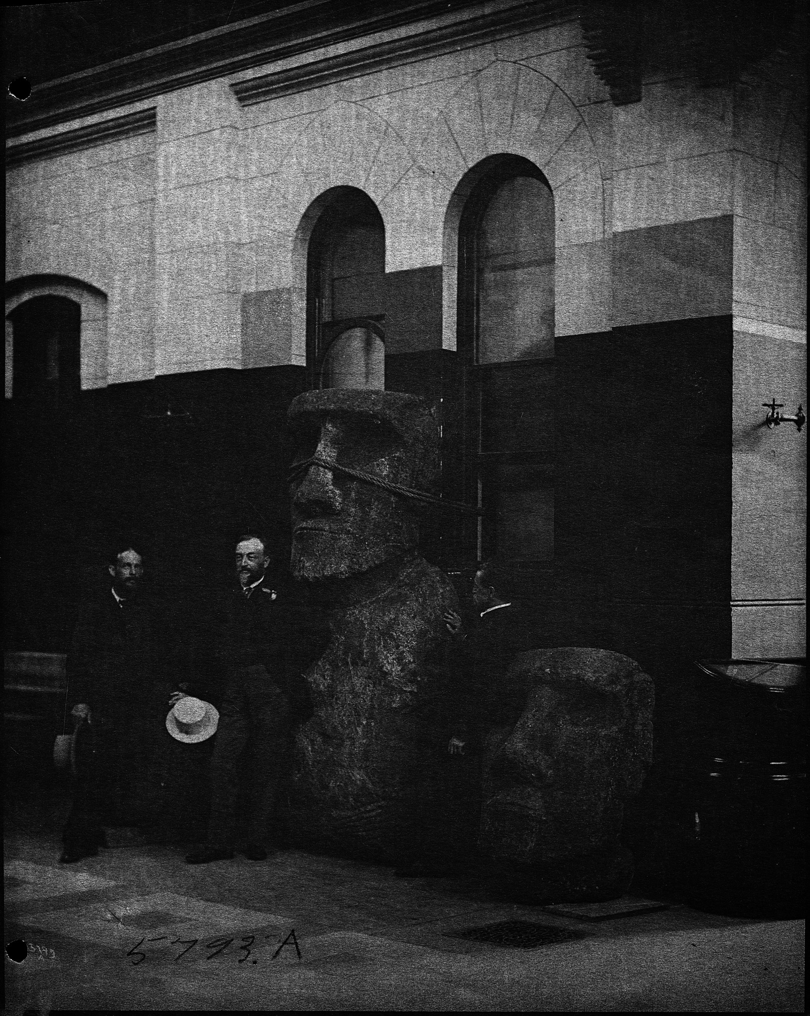 Samuel P. Langley with the Easter Island Statues