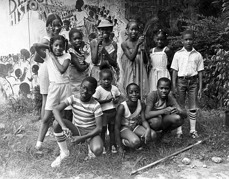 Elementary school gardening team, Anacostia Neighborhood Museum, Washington, D.C., 1982