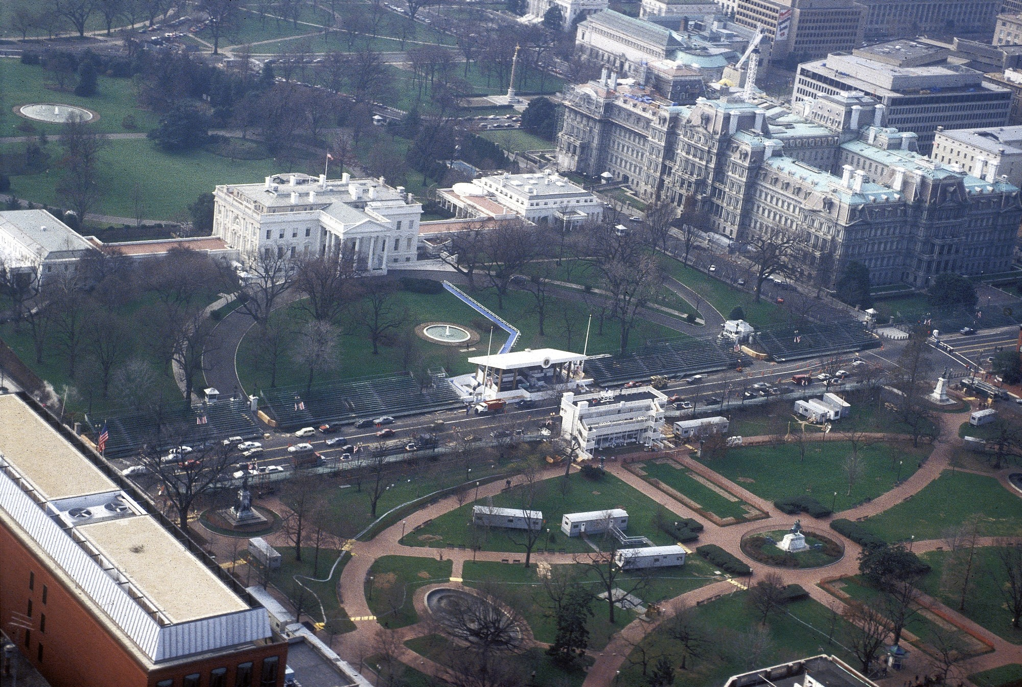 William J. Clinton Presidential Inauguration, aerial view of White House, 1993