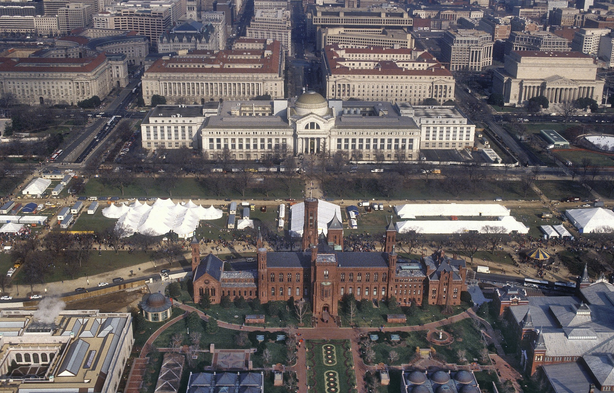 William J. Clinton Presidential Inauguration, aerial view of the National Mall, (depicting Quadrangle Building, Smithsonian Institution Building [Castle], and National Museum of Natural History), 1993