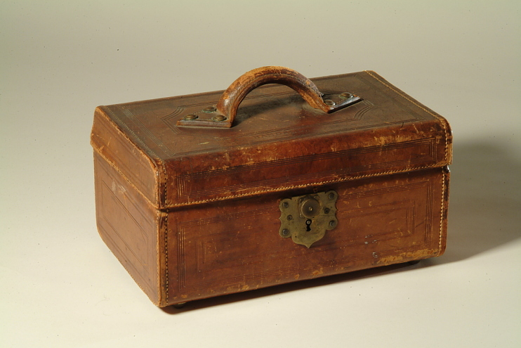 Conductor's ticket and cash case, about 1860