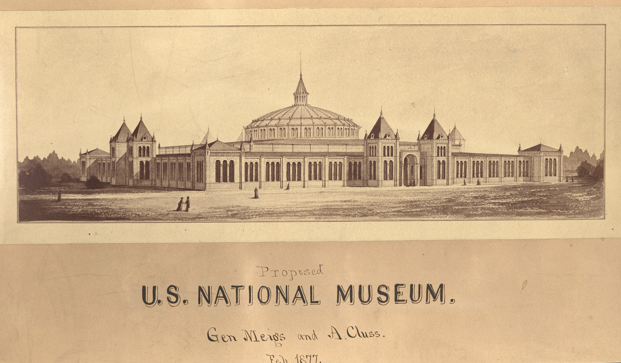 Preliminary Drawing by Cluss & Meigs of United States National Museum