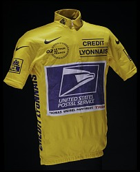 Yellow Jersey worn by Lance Armstrong in the 2002 Tour de France