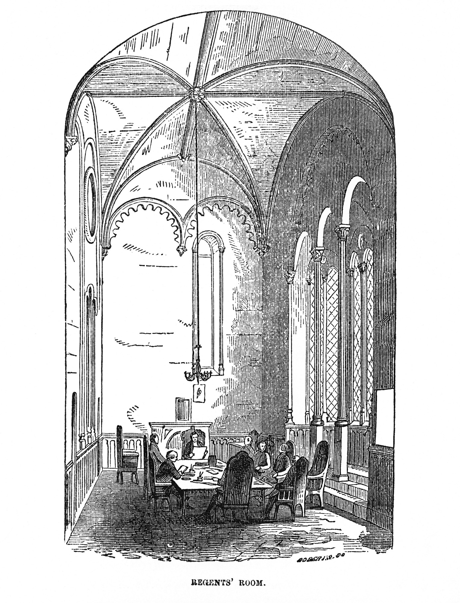 Engraving of the Regents' Room in the Smithsonian Institution Building showing Regents seated at a table conducting business, nineteenth century view. The engraving was published in the Guidebook of 1857.