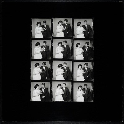 Enlarged Contact Sheet of John F. Kennedy and Jacqueline Bouvier Kennedy holding John, Jr.