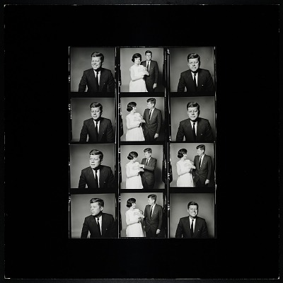 Enlarged Contact Sheet, John F. Kennedy, and JFK and Mrs. Kennedy holding John, Jr.