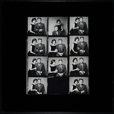 Enlarged Contact Sheet of Jacqueline Bouvier Kennedy and president-elect John F. Kennedy