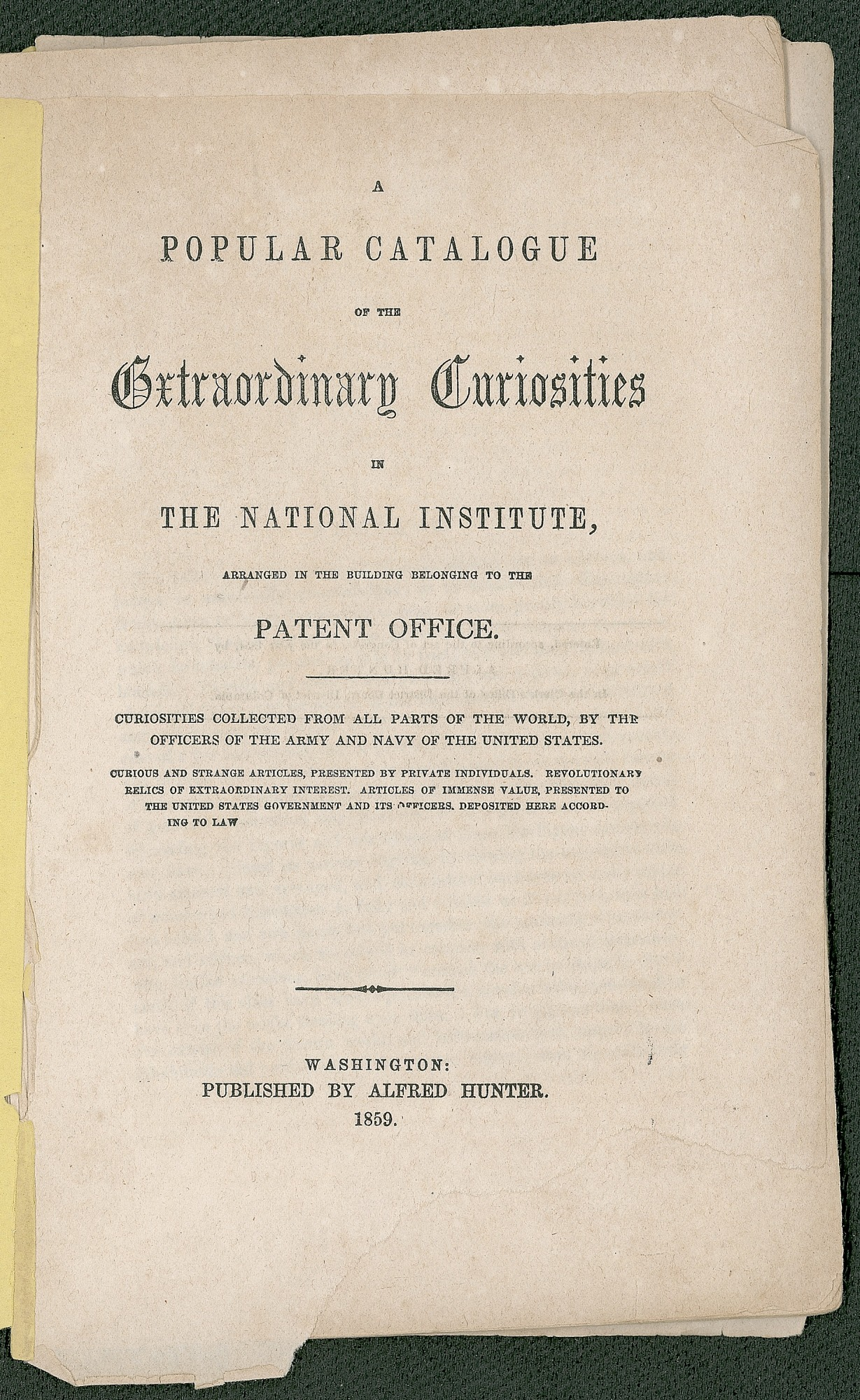 """Title Page of the National Institute's Catalogue of """"Extraordinary Curiosities"""""""