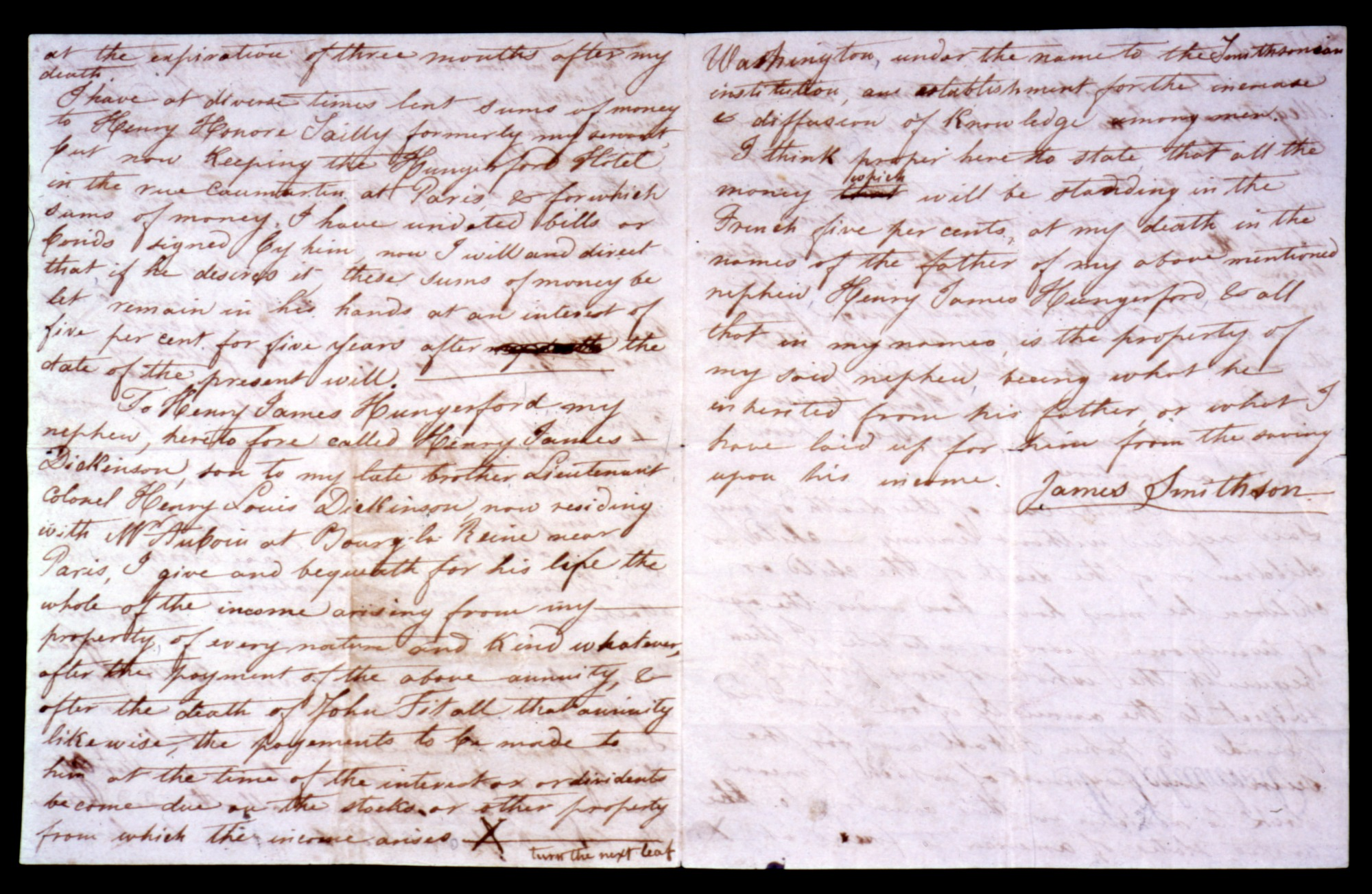 Draft of the Will of James Smithson