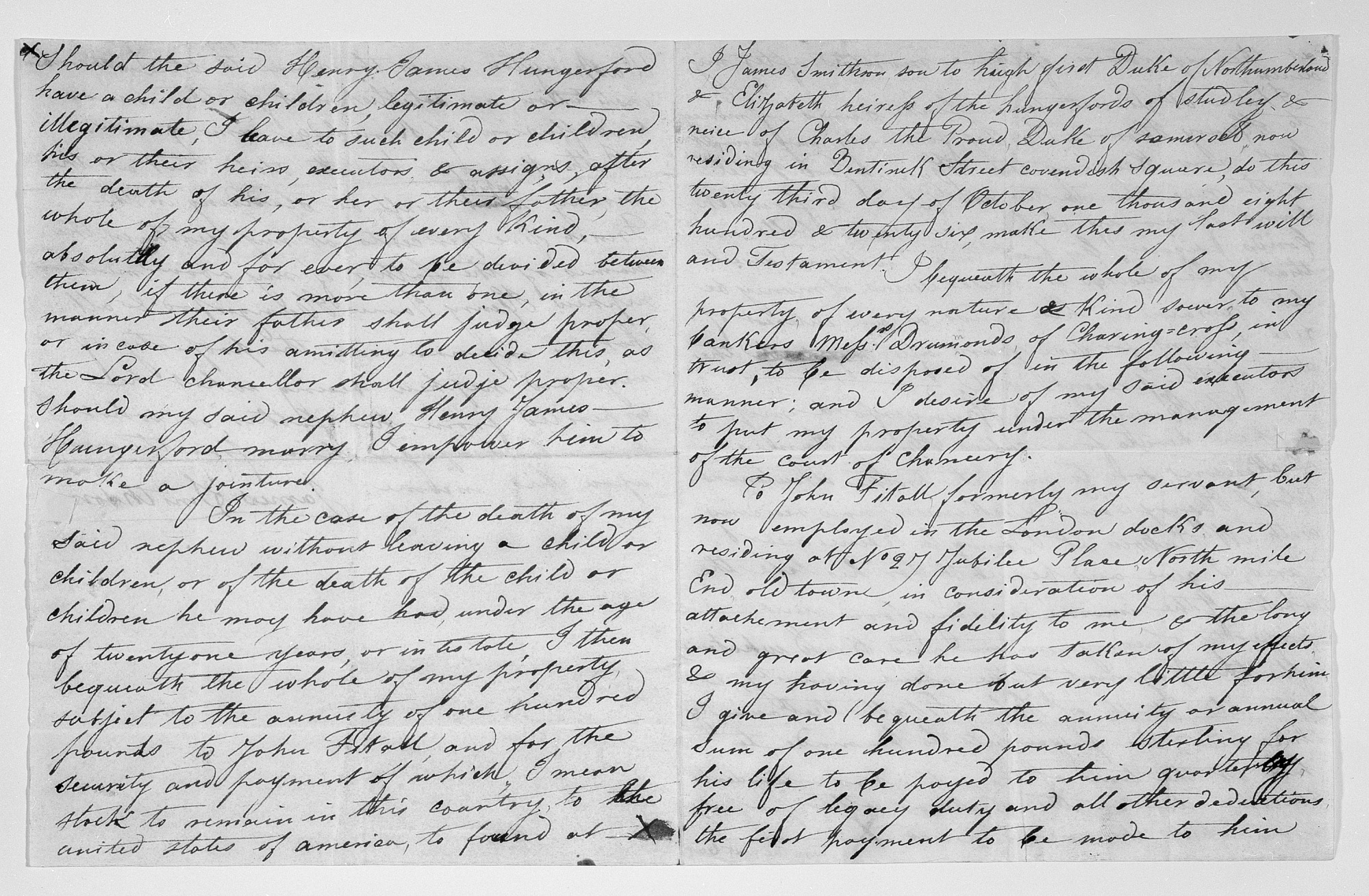 Handwritten Draft of James Smithson Will, Pages 1 and 3 and 2 and 4