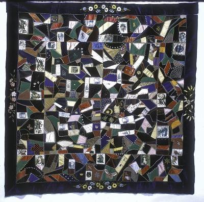 1870 - 1886 Margaret Tormey's Crazy-patched Quilt Top