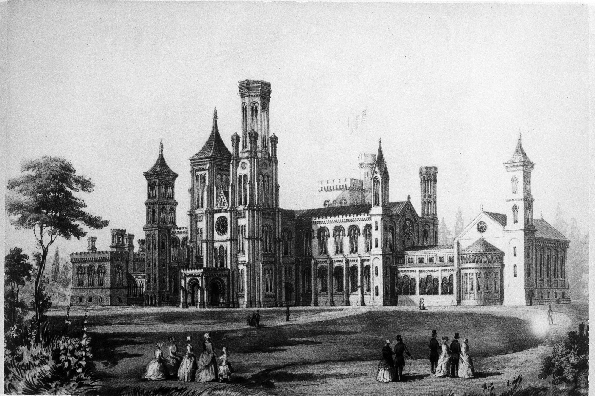 Exterior of Smithsonian Building Completed, December 31, 1851, Smithsonian Archives - History Div.