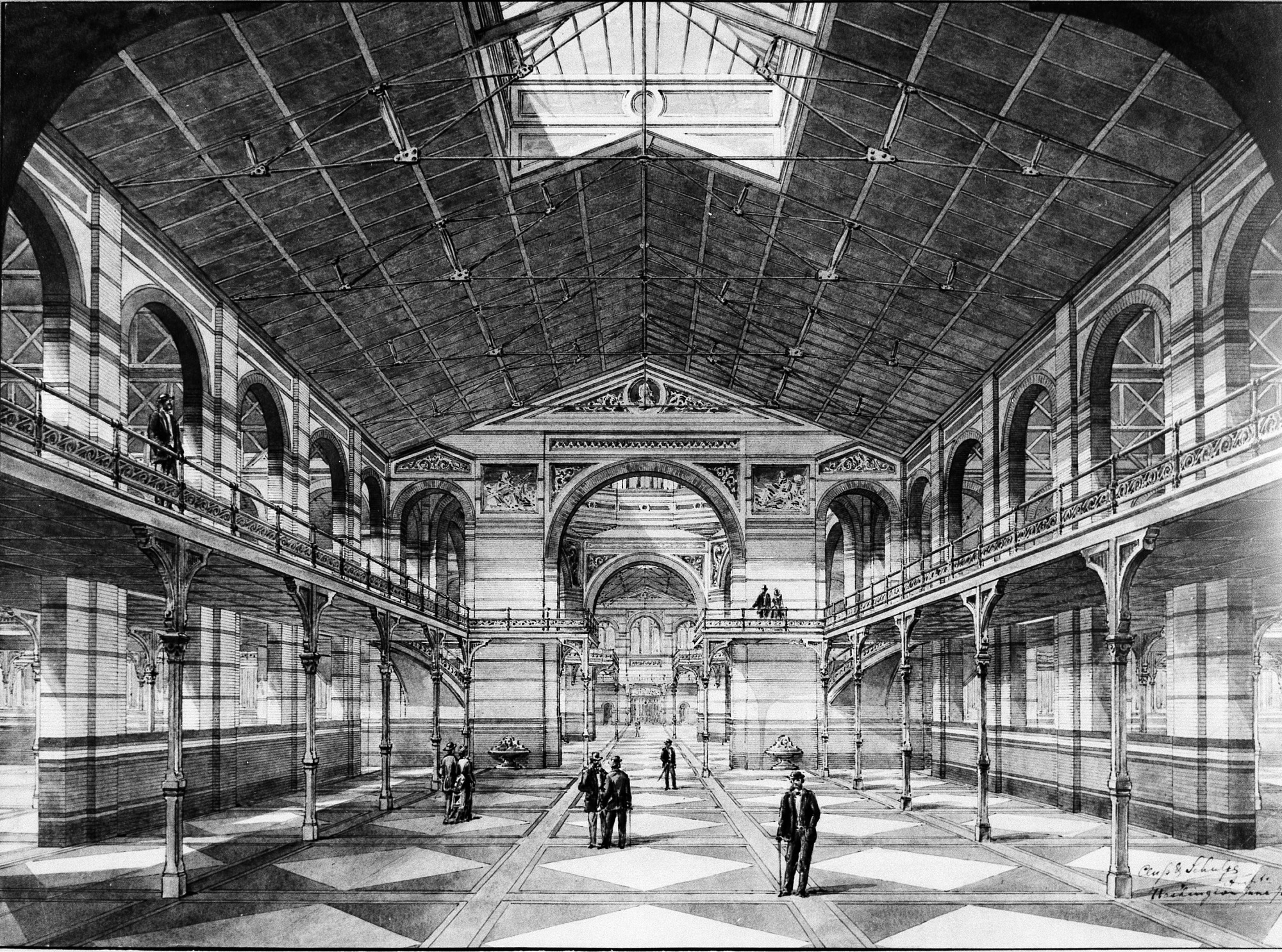 Drawing of the Interior of the A&I Building