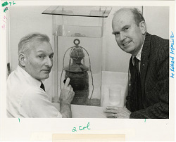 Robert M. Organ and Philip Lundeburg with Red Lantern from U.S.S. Monitor