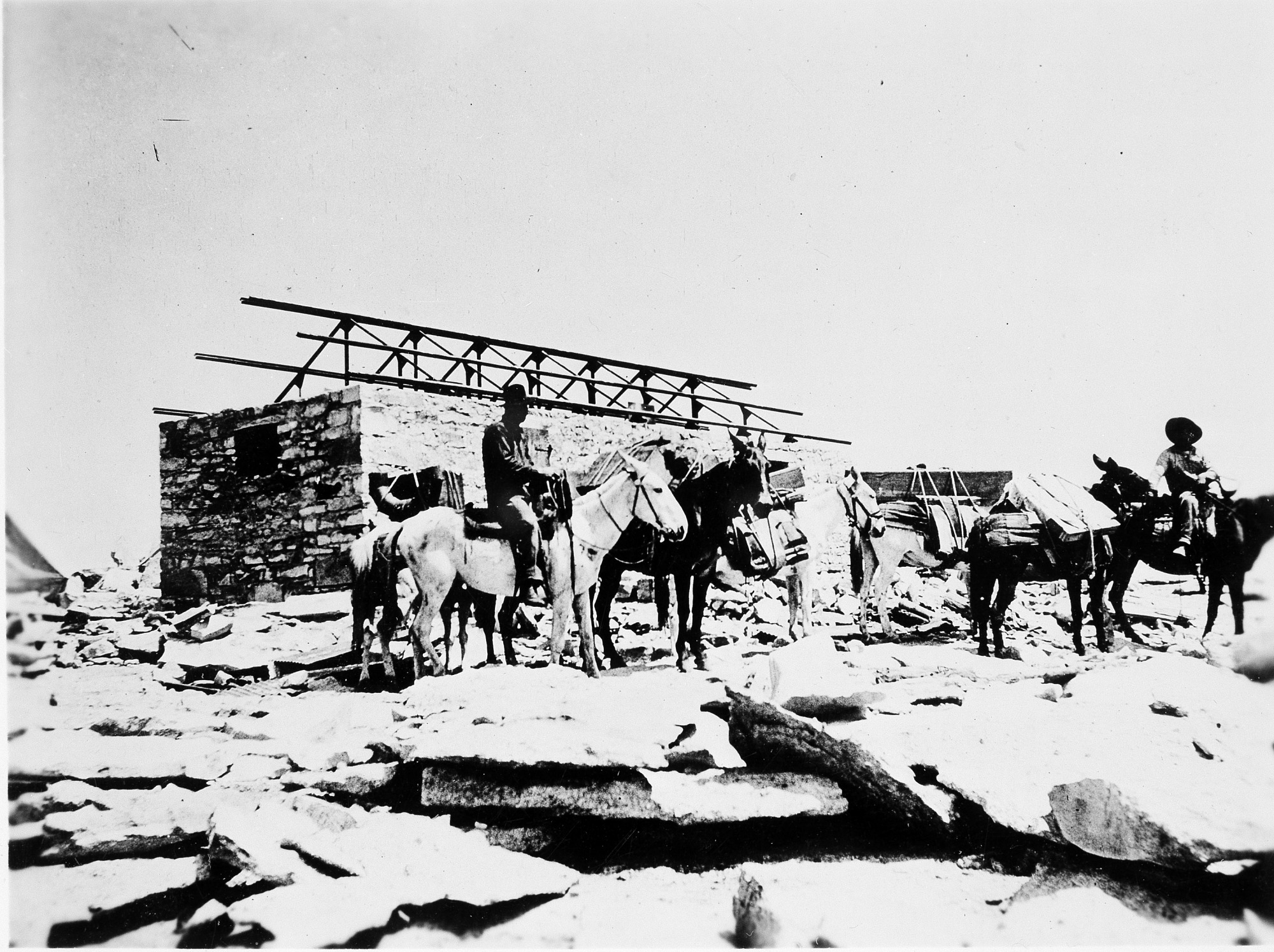 SAO Mount Whitney Shelter Erected, 1909, Smithsonian Archives - History Div.