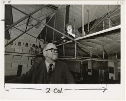 Portrait of Charles Gibbs-Smith with Wright Flyer