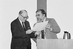 Forrest C. Pogue Receiving Oral History Award from Benis M. Frank
