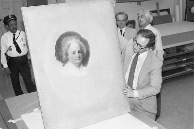 Marvin Sadik Examines Martha Washington Portrait