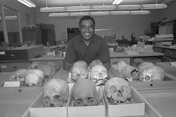 Joseph Brown in Anthropology Laboratory