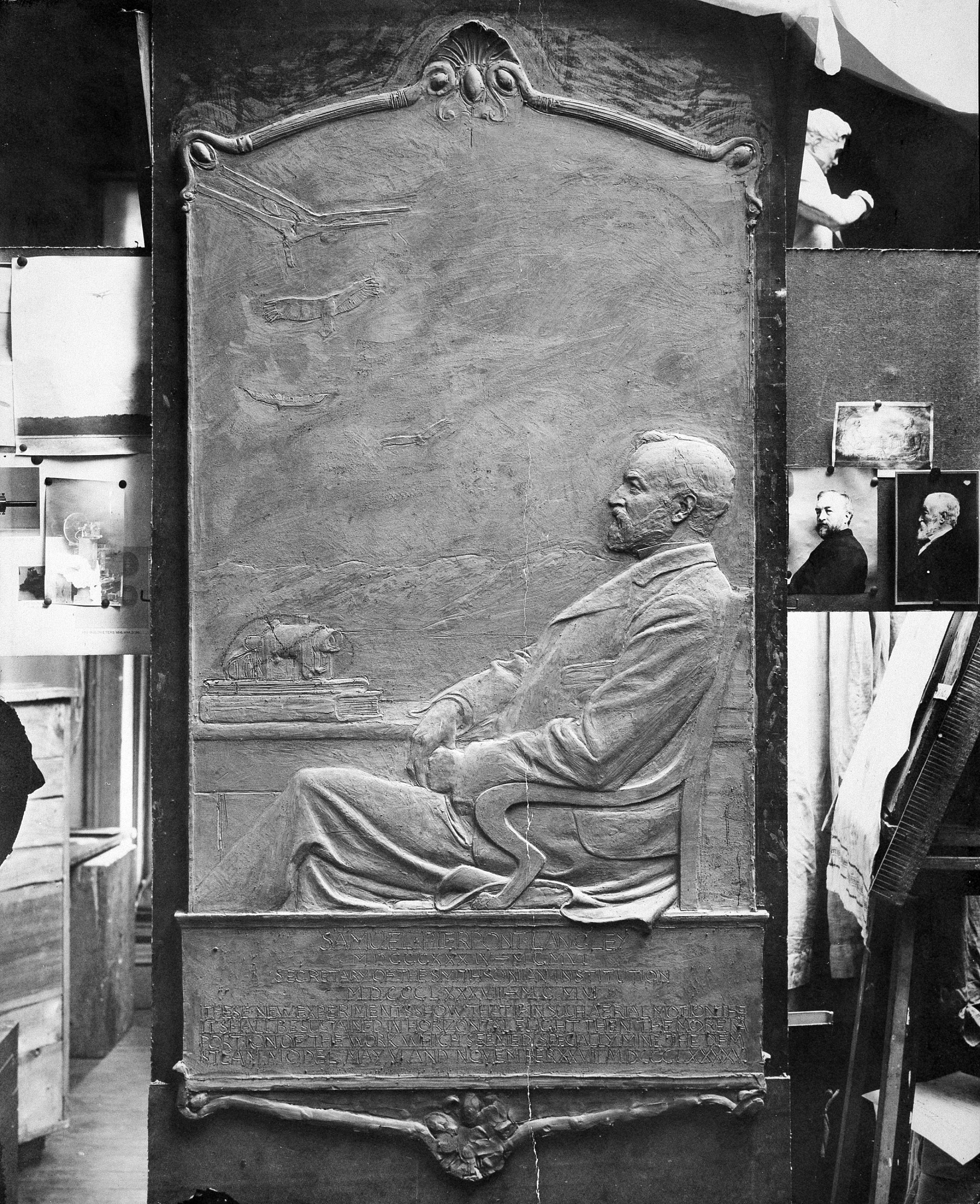 Samuel P. Langley Memorial Tablet, by Unknown, 1908 c, Smithsonian Archives - History Div, 82-3198.