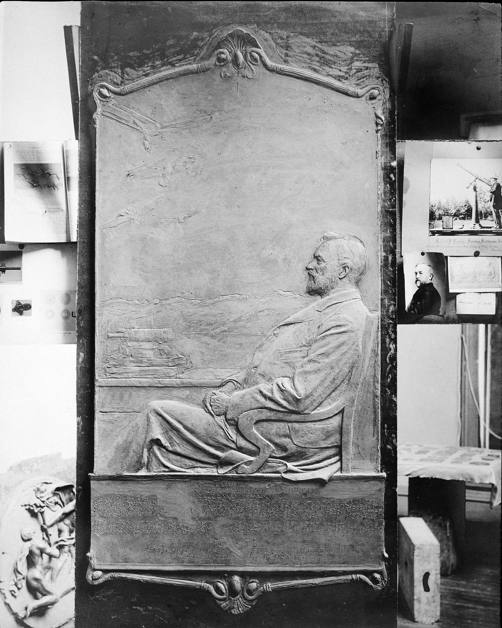 Langley Memorial Tablet, by Unknown, 1908, Smithsonian Archives - History Div, 82-3199.