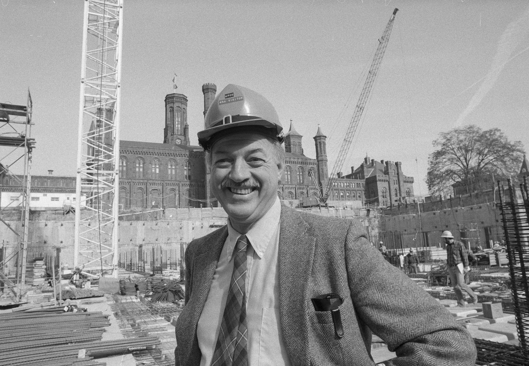 Secretary Adams Checks Underground Museum Construction