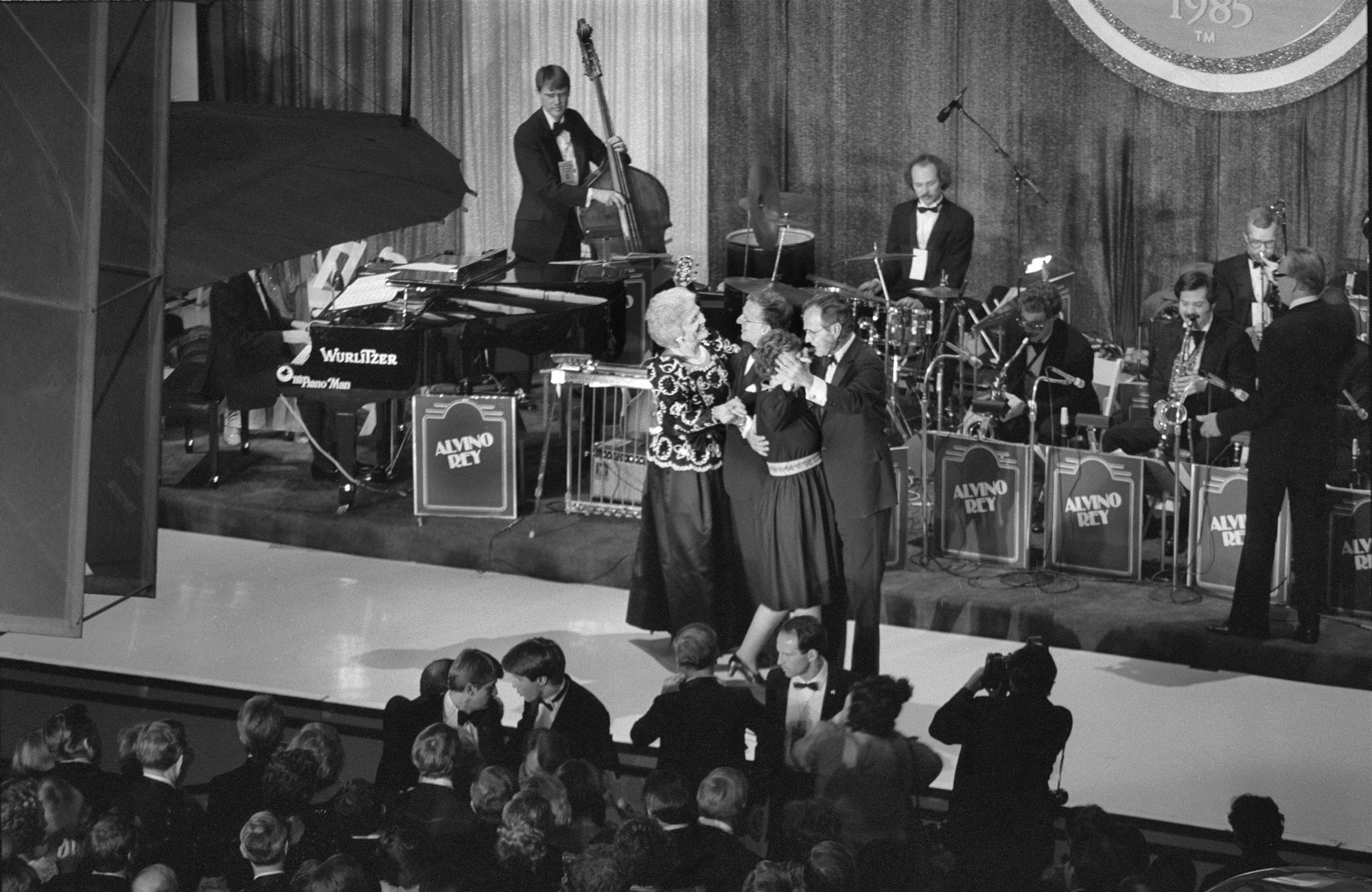 Vice-President George H. W. Bush and Mrs. Barbara Bush at 1985 Inaugural Ball, Smithsonian National Air and Space Museum, January 21, 1985