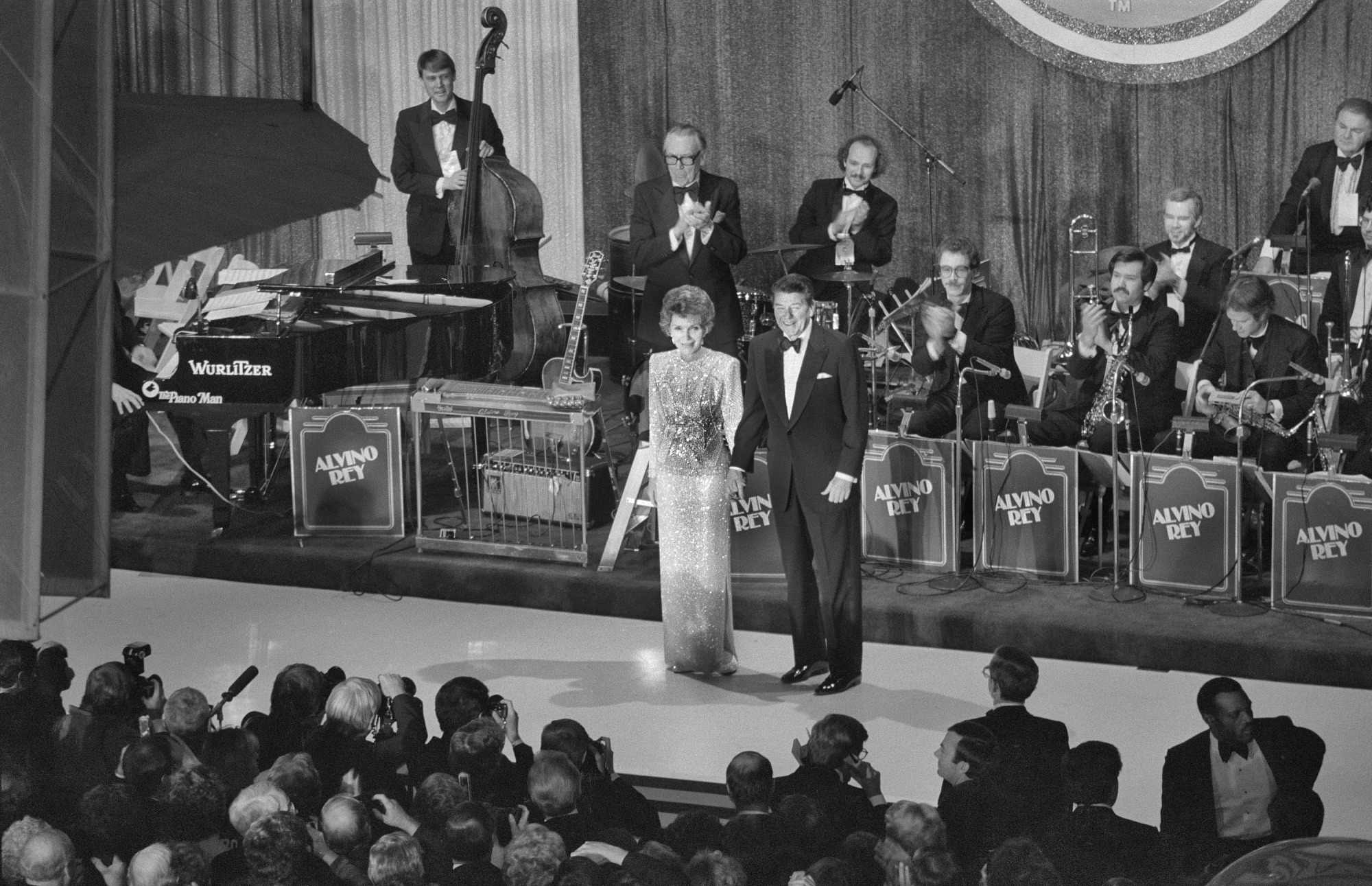 1985 Inaugural Ball: President Ronald Reagan and Mrs. Nancy Reagan in National Air and Space Museum, January 21, 1985