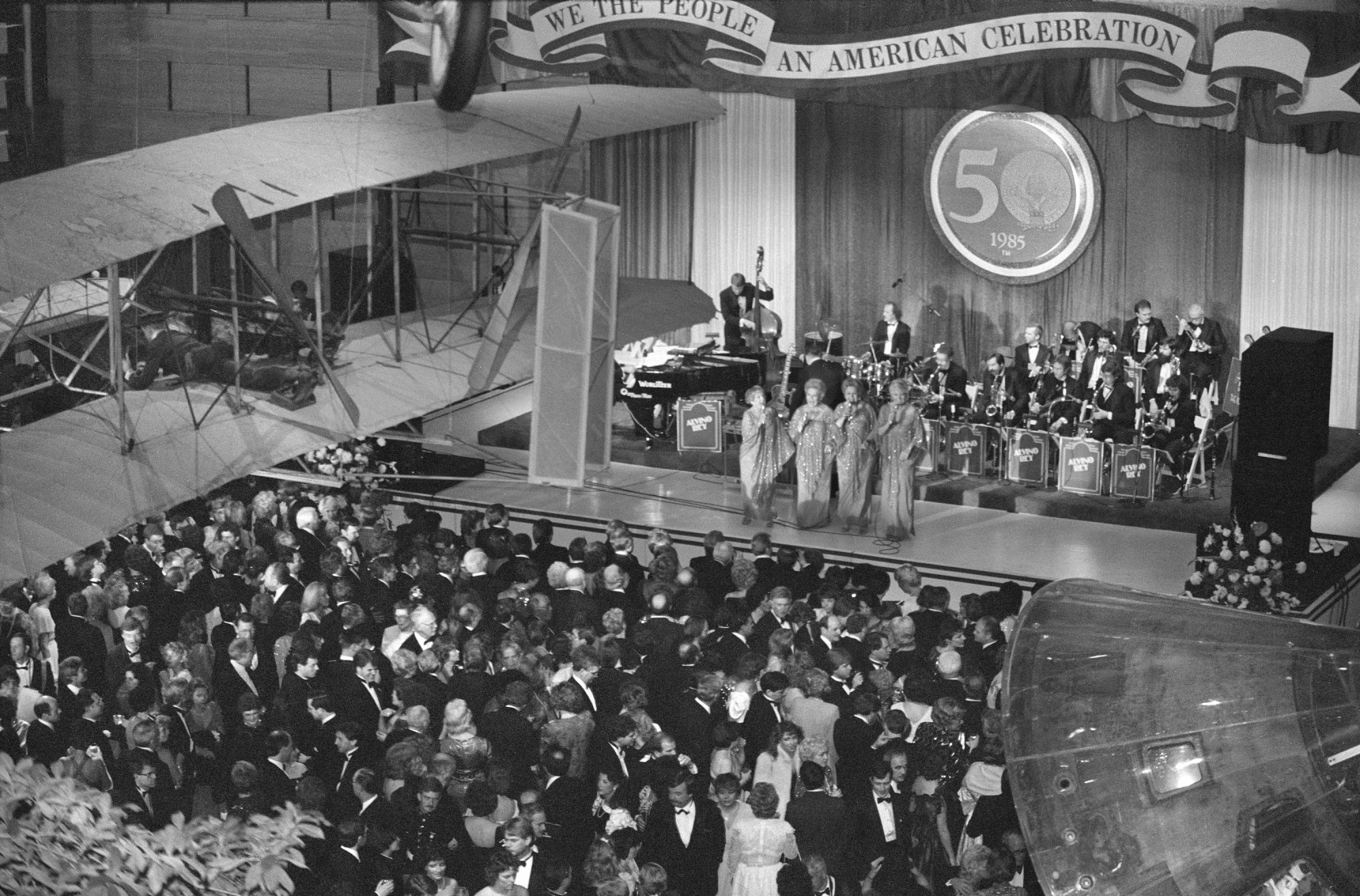 Musicians and singers performing at the 1985 Inaugural Ball for President Reagan in the National Air and Space Museum, January 21, 1985