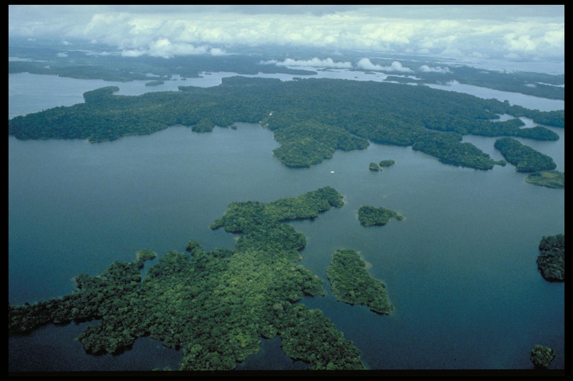 Aerial view of Barro Colorado Island (BCI), Panama, STRI