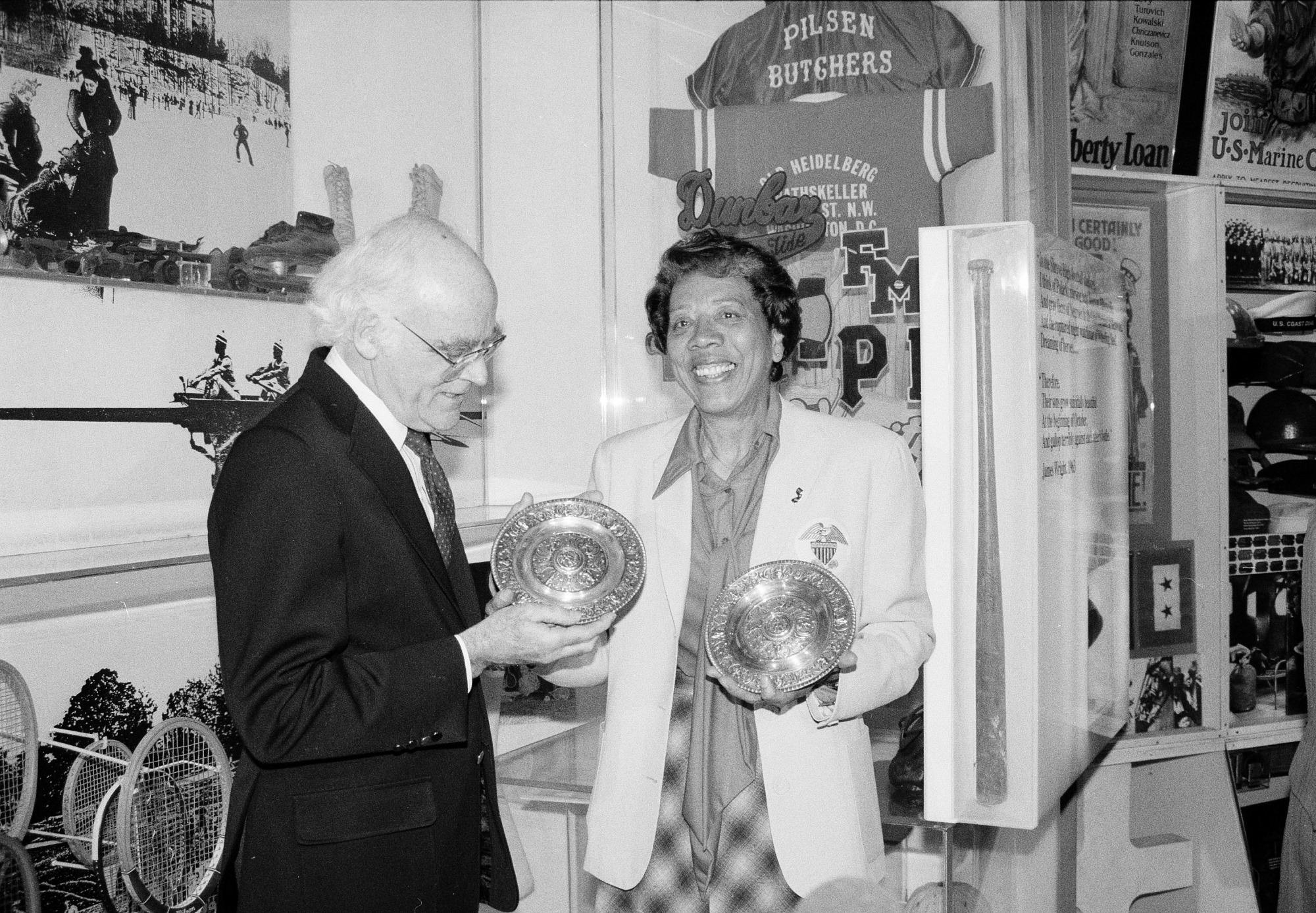 Althea Gibson at NMAH, by Greene, Donna, 1988, Smithsonian Archives - History Div, 88-8695-18.