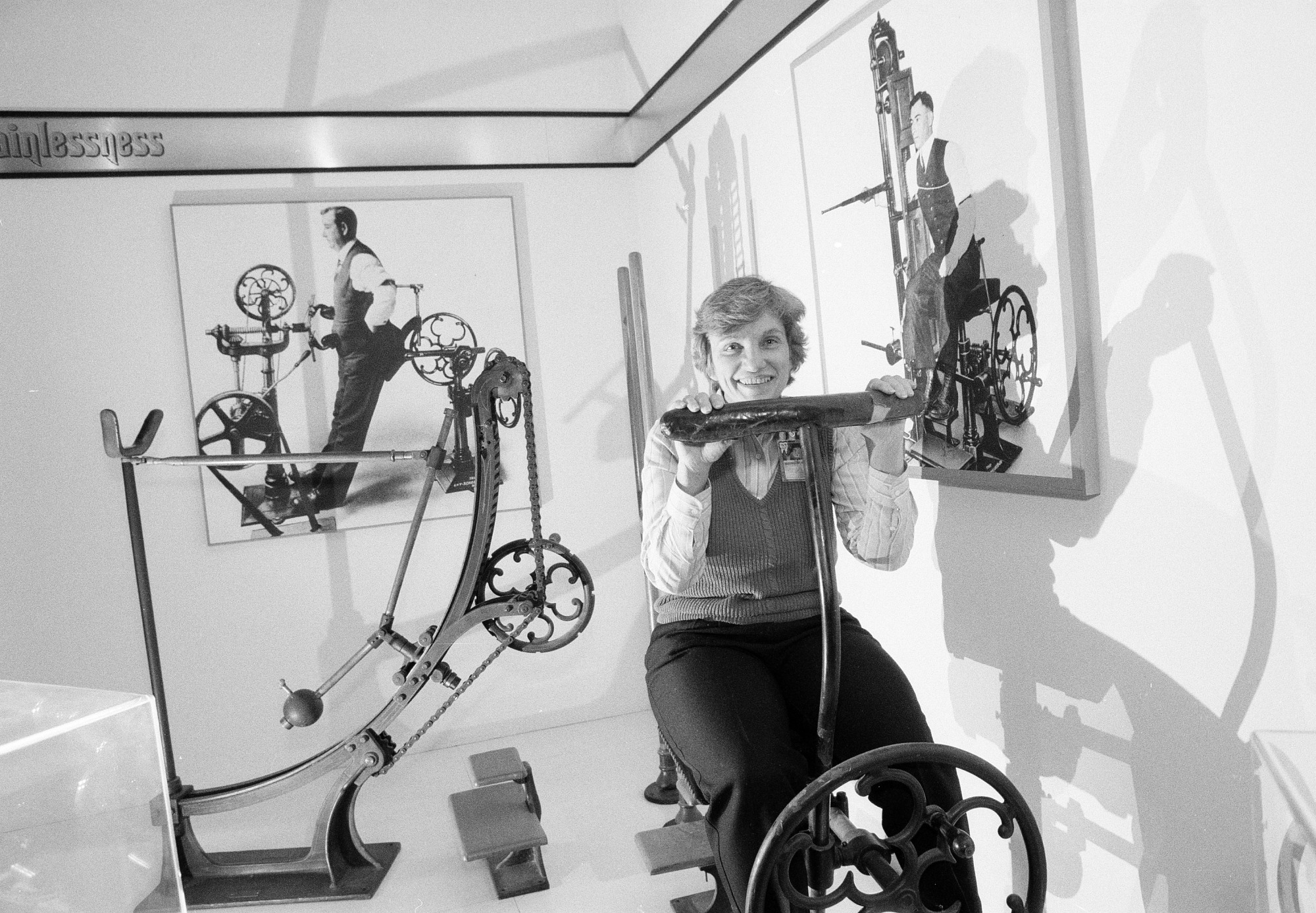 Audrey Davis with Zander Exercise Machine