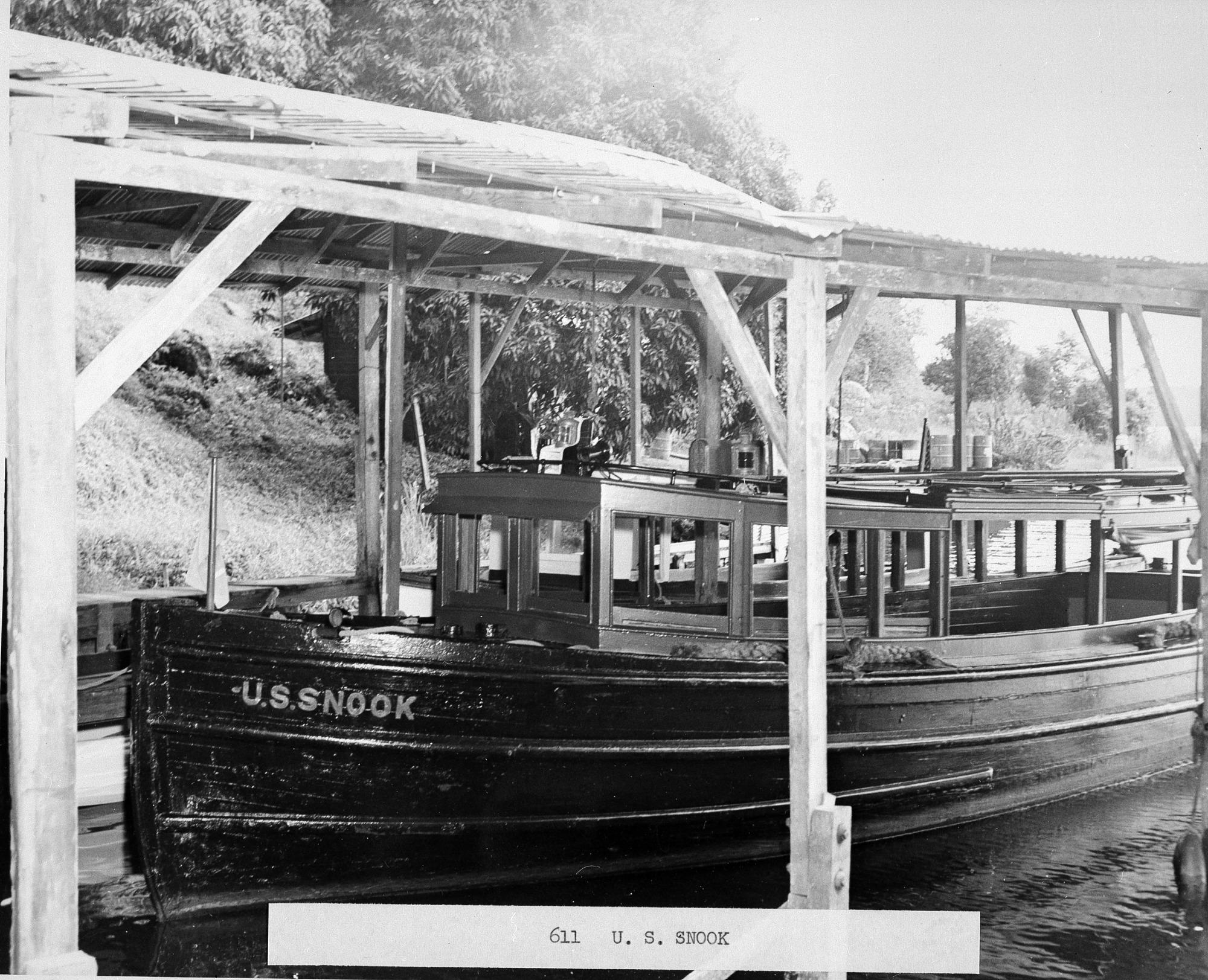 """The Boat """"U.S. Snook"""" at Its Dock, Barro Colorado Island"""