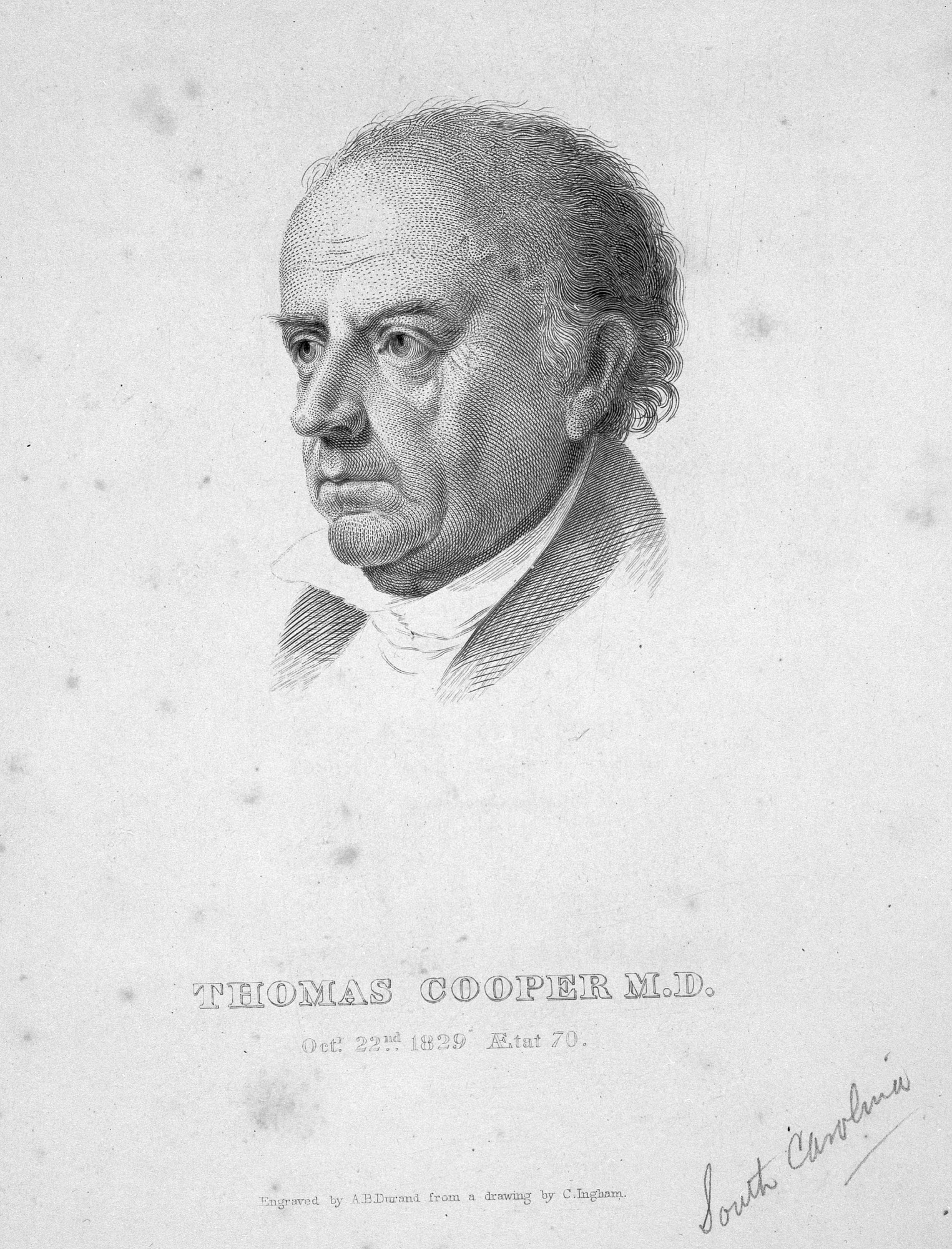 Thomas Cooper, M.D, by Durand, A. B, 1829, Smithsonian Archives - History Div, 94-13356.