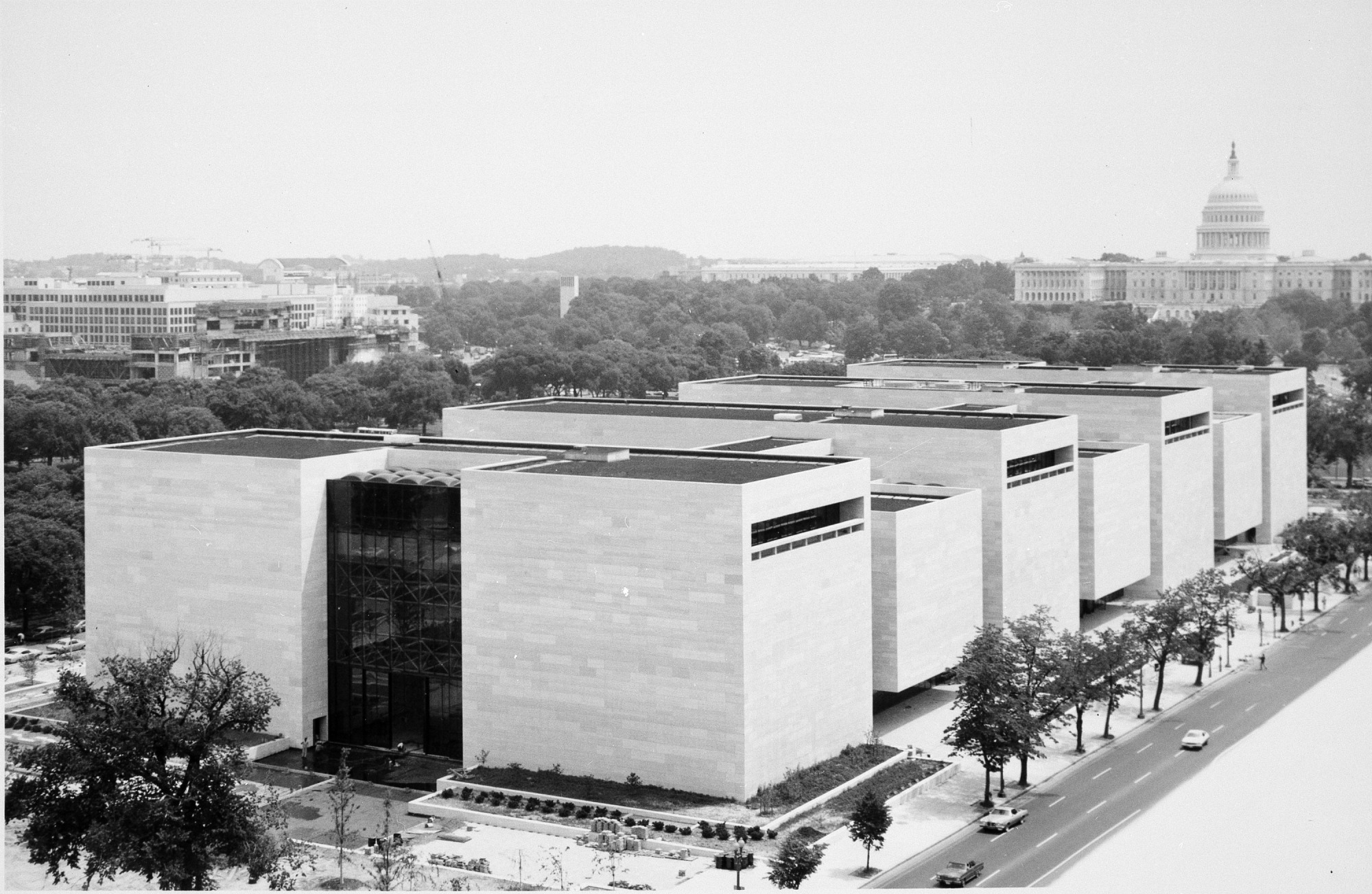 Independence Avenue View of NASM, by Unknown, 1976, Smithsonian Archives - History Div, 94-2462.