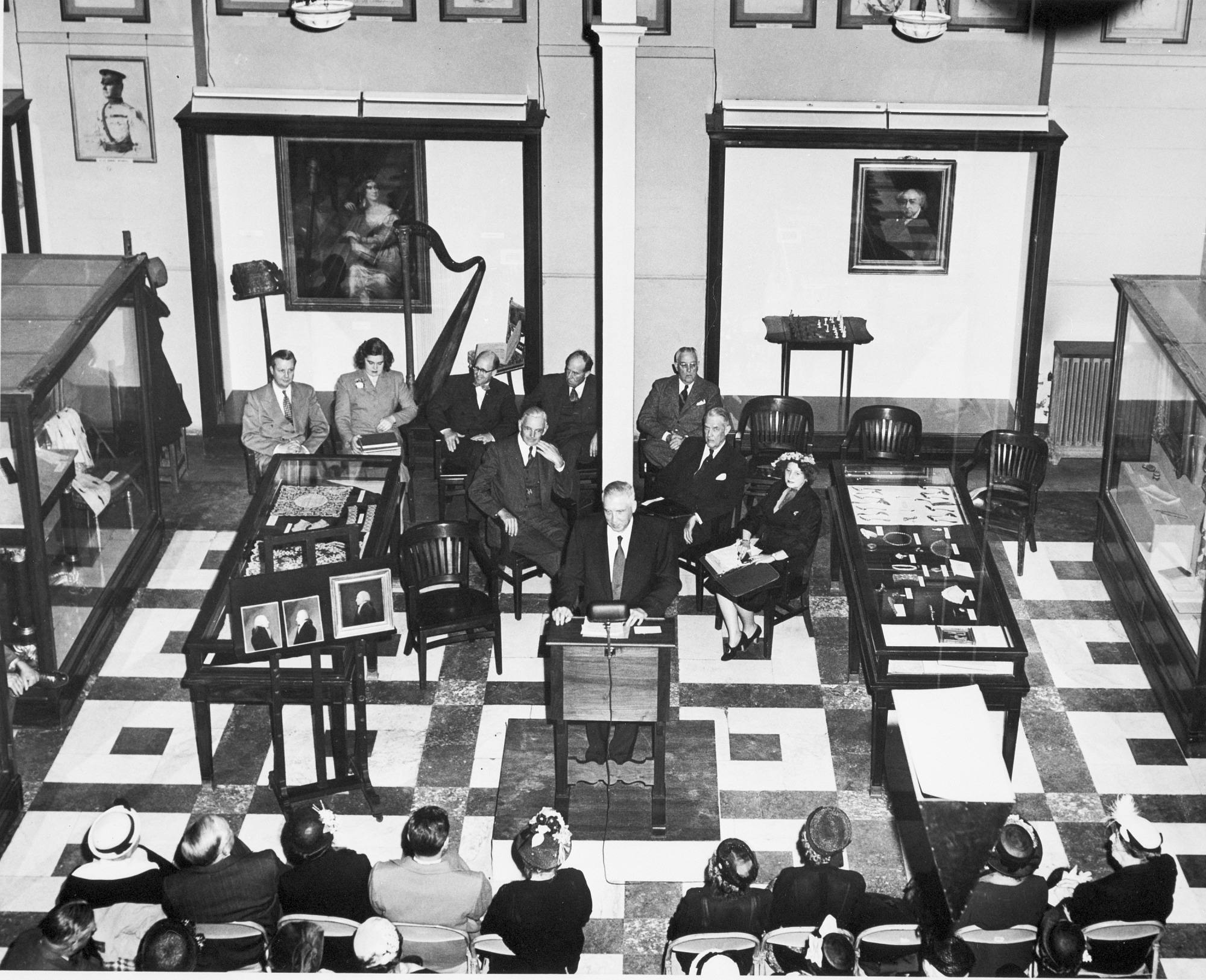 Opening of Adams-Clement Collection, by Unknown, 1951, Smithsonian Archives - History Div, 94-6805.