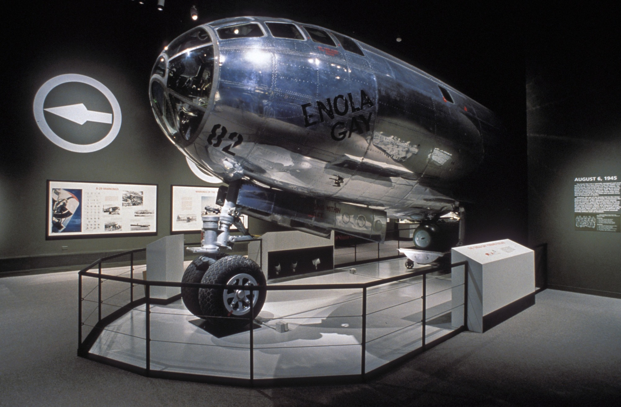 Enola Gay on Display, c. 1995, Smithsonian Archives - History Div, 95-4624.