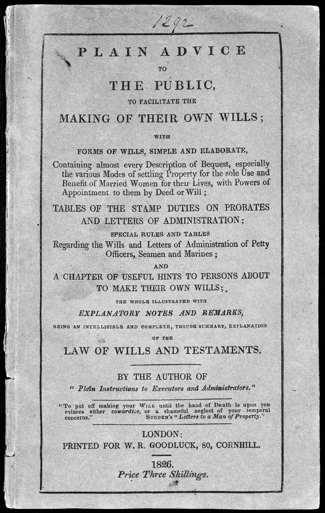 Plain Advice to the Public. . .Making of Wills