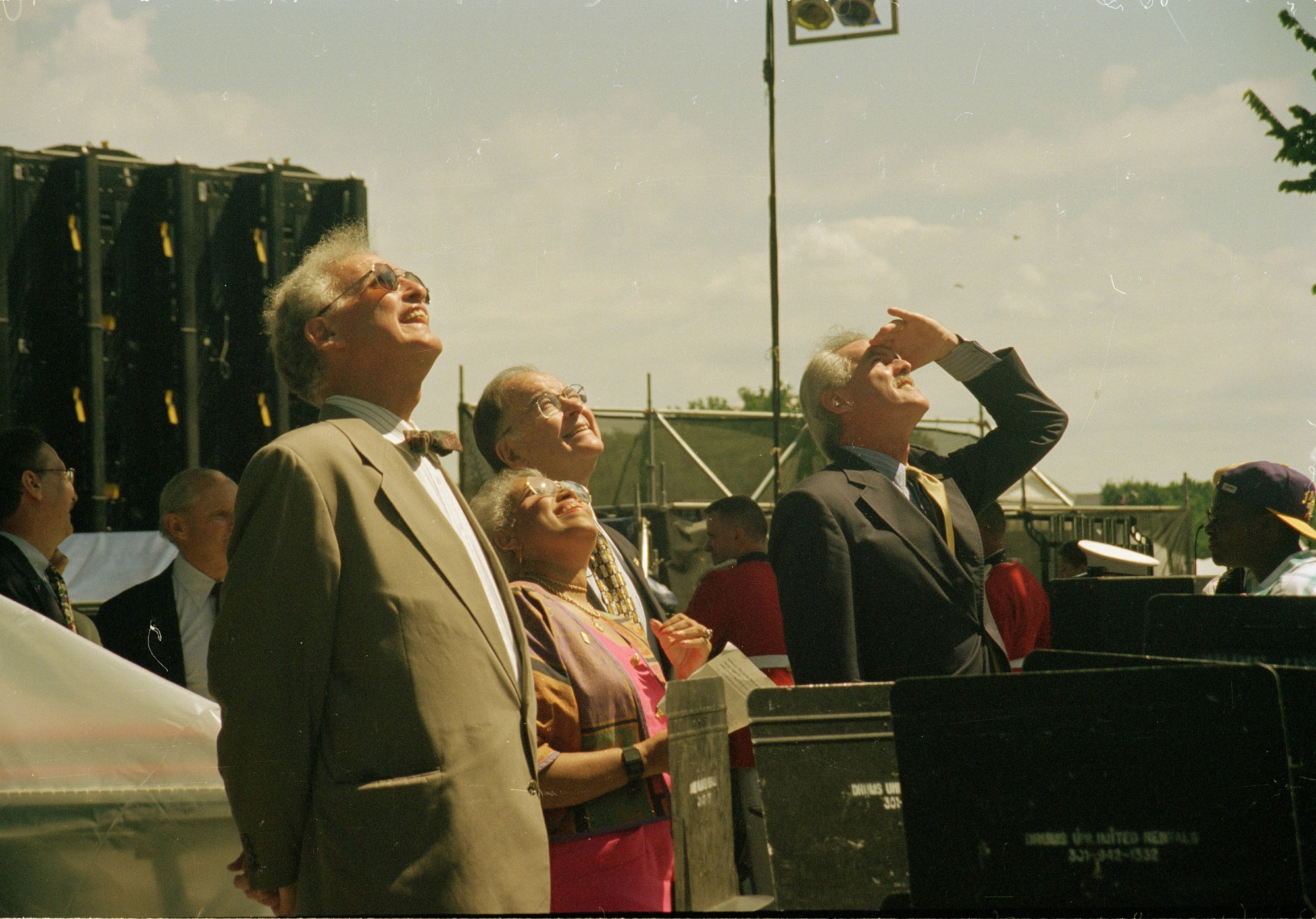 Secretary Heyman and Others Observe Hoisting of New Bell