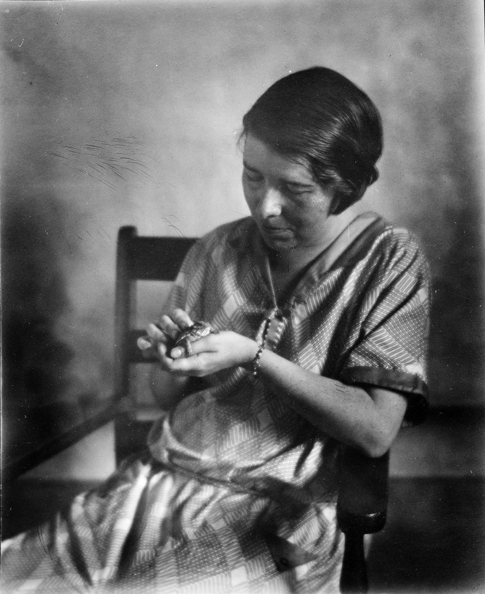 Doris M. Cochran Holding Frog, by Unknown, c. 1930s, Smithsonian Archives - History Div, 96-956.