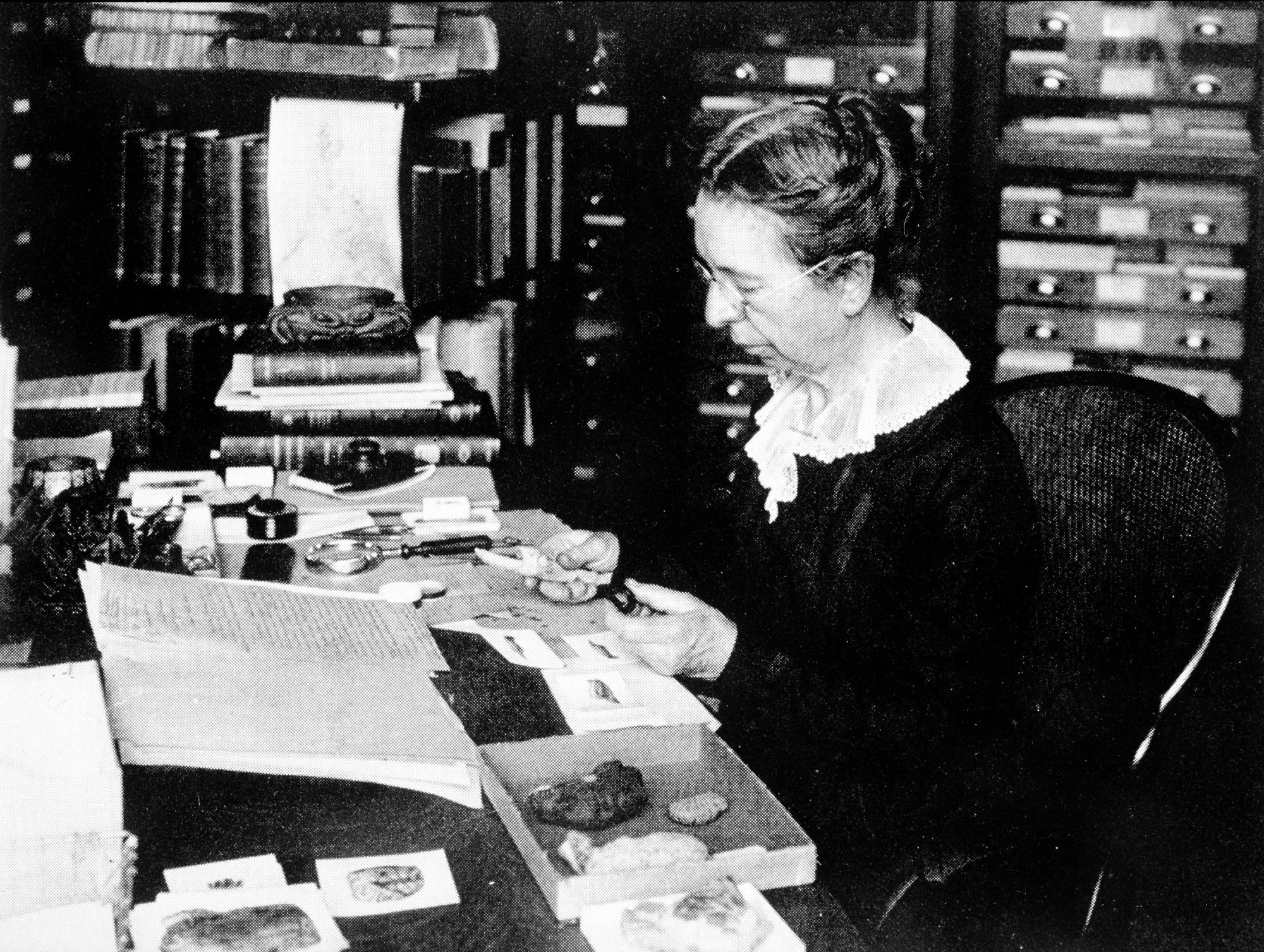 Mary Jane Rathbun Working with Specimens