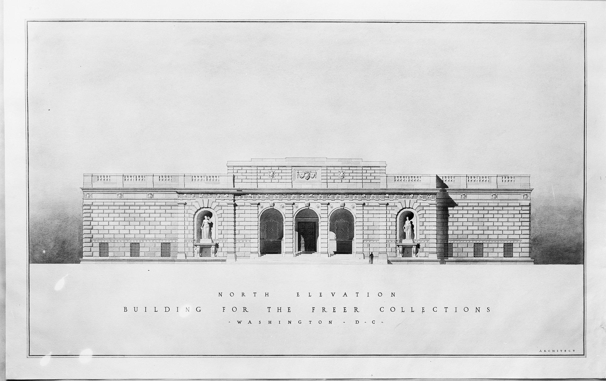 Elevation Drawing of Proposed Freer Gallery, 1915
