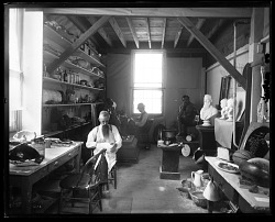 Sculptor John W. Hendley in Modeler's Studio