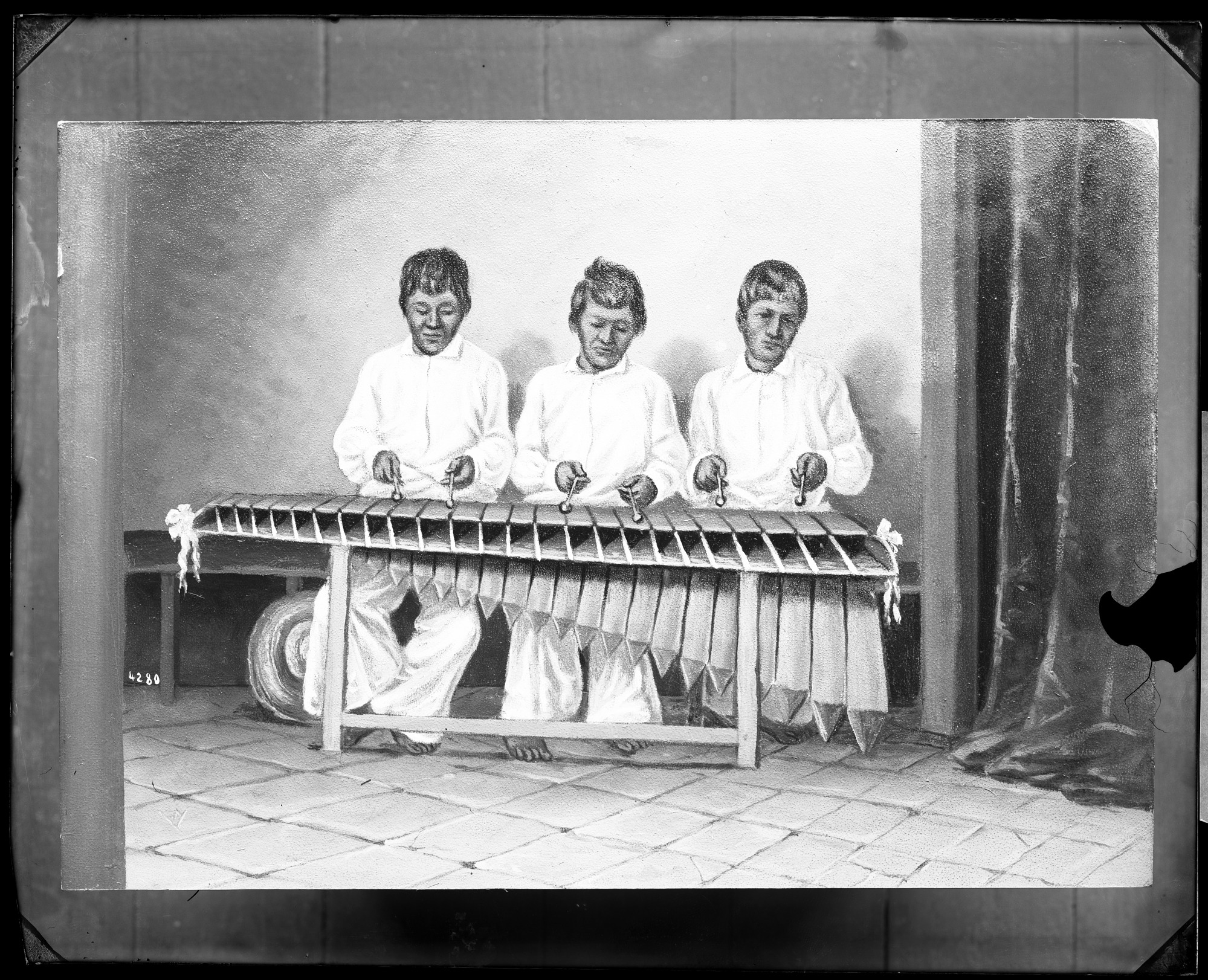 Painting of Three Men Playing Marimba