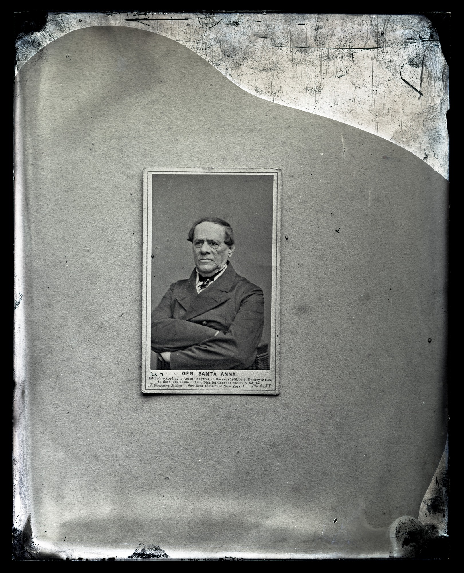 Carte de Visite of General Santa Anna by J. Gurney & Son, 1866