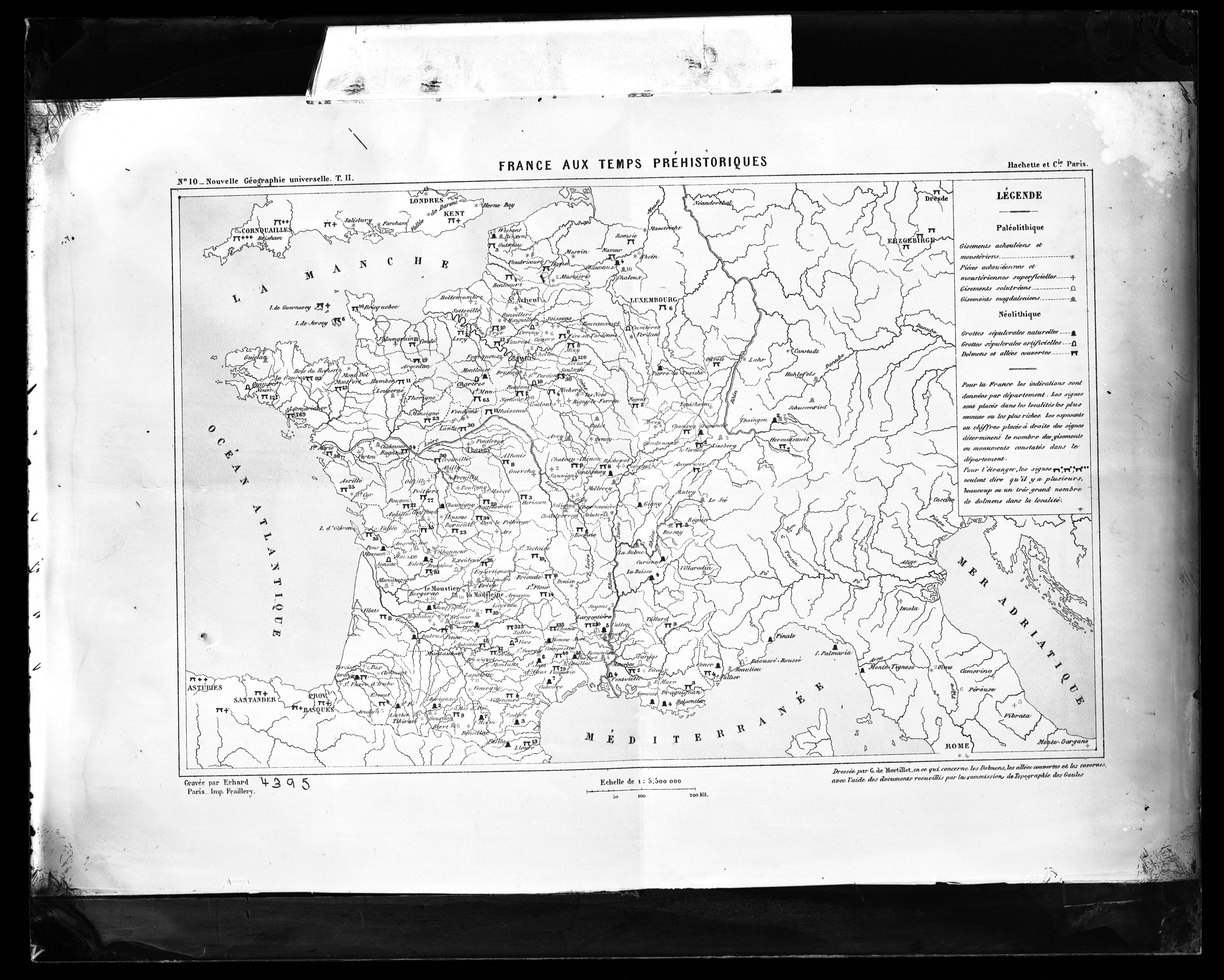 """Map, """"France aux Temps Prehistoriques"""""""