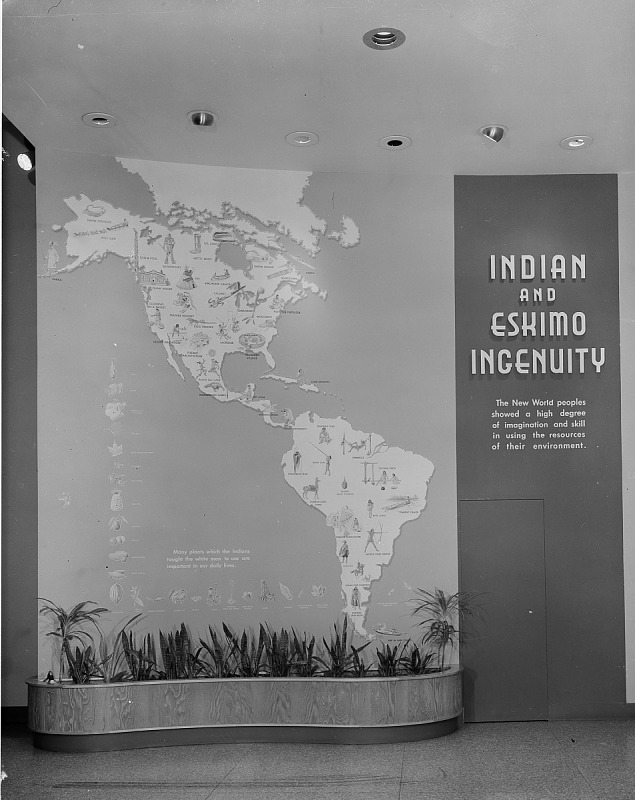 """Image for Map of North and South America Labeled """"Indian and Eskimo Ingenuity"""""""